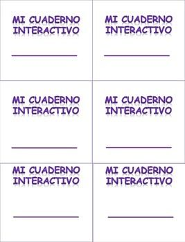 Interactive notebook labels for the Spanish class