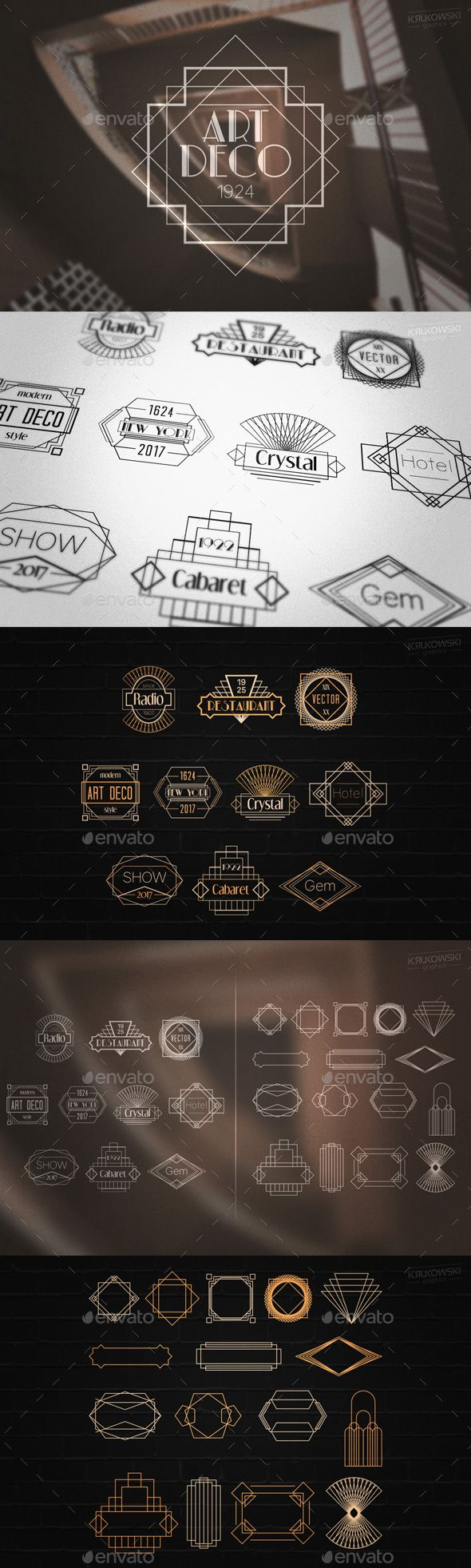 Art Deco Gatsby Style Badges Logos Template PSD, Vector EPS, AI Illustrator