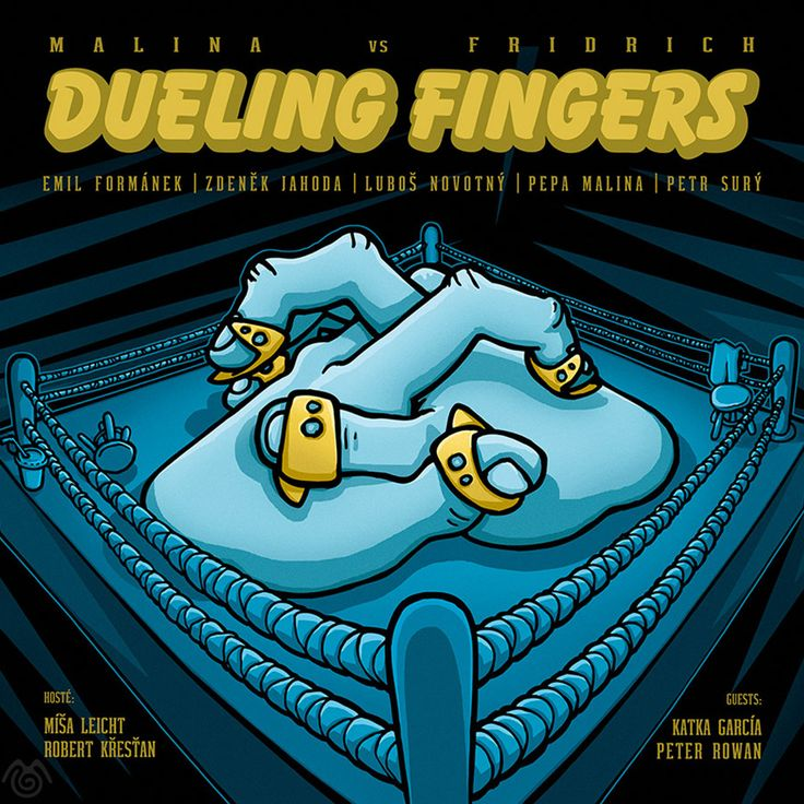 Album artwork by Maťo Mišík www.matomisik.com - Malina vs Fridrich — Dueling Fingers  #cdcover #albumartwork #albumart #coverart #banjo #ring #boxing #duel