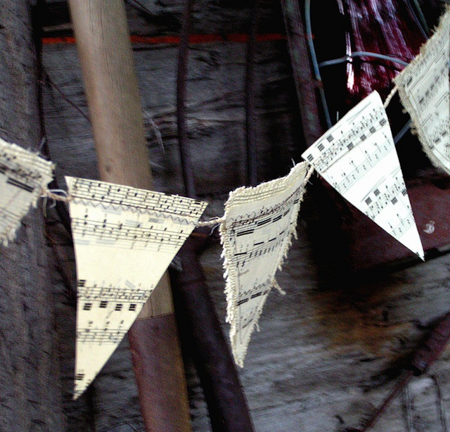 paper and burlap vintage music sheet bunting banner home decor by lunaclaydesign, via Flickr