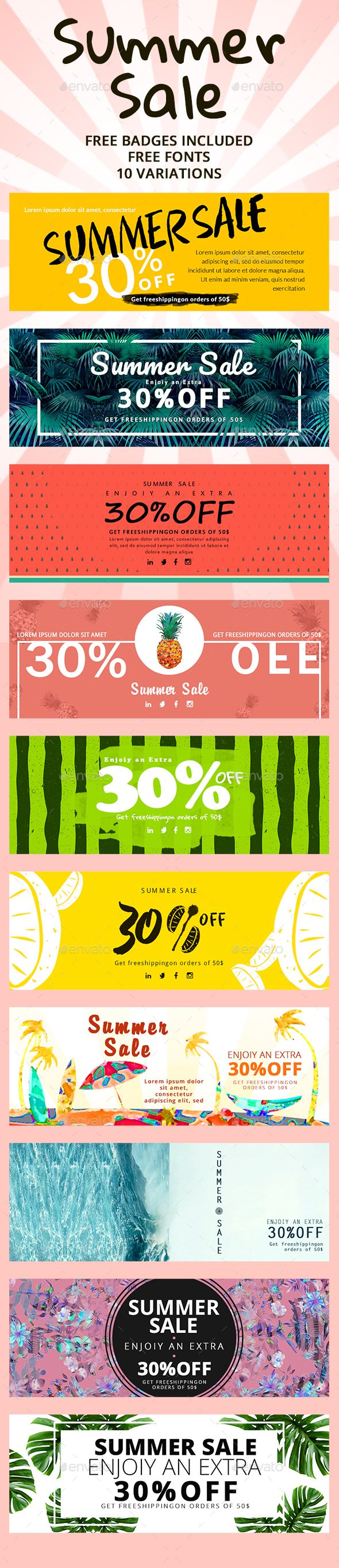 Sale Summer Banners — Photoshop PSD #summer #banner set • Available here → https://graphicriver.net/item/sale-summer-banners/20312175?ref=pxcr