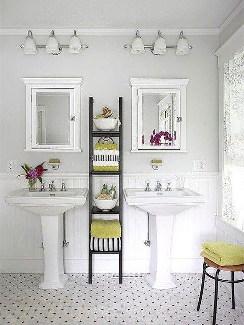 classic bathroom--just darling, especially the skinny ladder shelfBathroom Design, Small Bathroom, Bathroom Storage, Pedestal Sinks, Bathroomdesign, Medicine Cabinets, Bathroom Ideas, White Bathroom, Design Bathroom