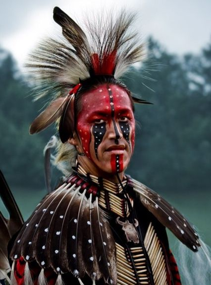 Native American Ceremonial Headdress ... Loving the feather capelet.