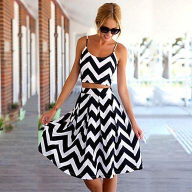 Sexy/Bodycon/Strand/Hverdagslig/Sød/Party/Arbejde KVINNER - Kjoler ( Bomuld ) – NOK kr. 105   Sy svart dot kjole om til et slikt sett.