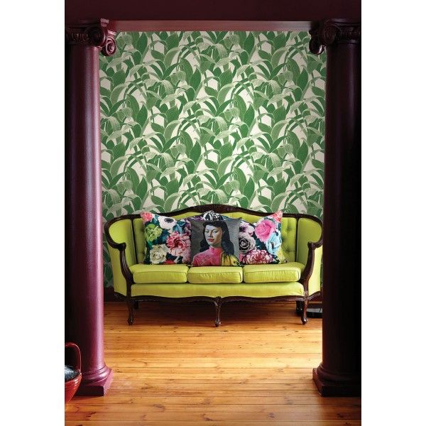 Seabrook Wallpaper AI40302 - Koi - All Wallcoverings - Leaf design wallcovering in a living room photo