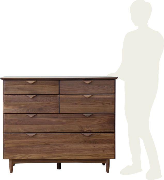 チェスト幅110cmウォールナット無垢材北欧たんすリビングチェスト4段引き出し木製無垢ウレタン塗装脚付きおしゃれシンプル収納家具