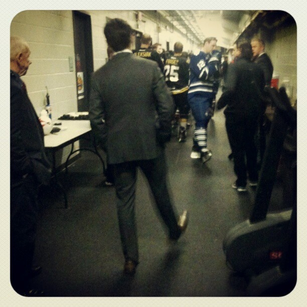 Dallas Eakins and Ryan Hamilton getting ready to hit the ice for the Skills Competition