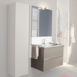 Meubles salle de bains taupe brillant 81 cm hola salle for Meuble salle de bain taupe