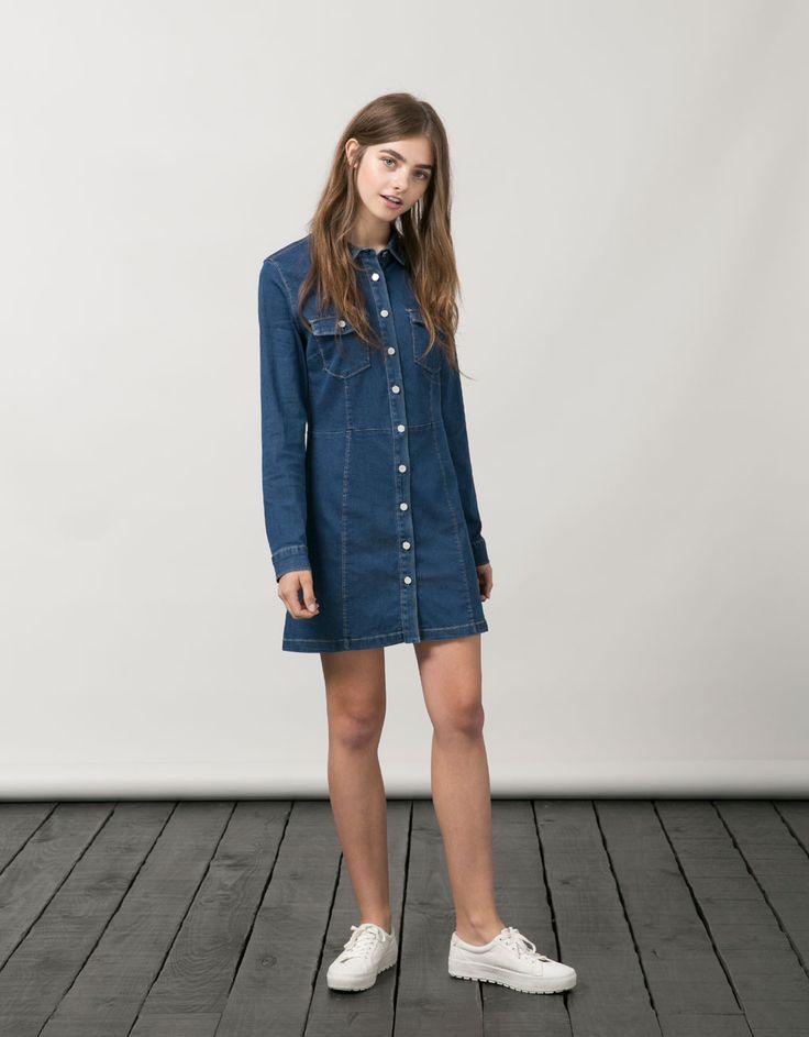 Бершка джинсовое платье