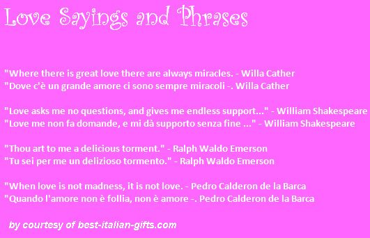 English In Italian: Romantic Phrases, Sayings And