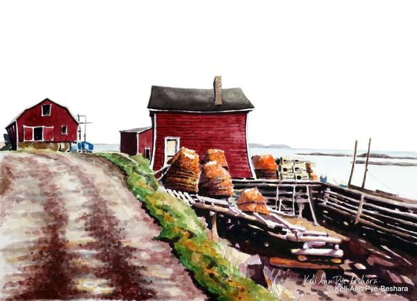 """Art prints from original paintings by Newfoundland Artist Keli-Ann Pye-Beshara. This is one of the Top 5 winning paintings from my Facebook contest """"What Does HOME Mean to You?"""" """"My Mom, Maria Alward (Lewis), grew up in Dock Cove on St. Brendan's Island along with her 8 sisters and 1 brother. Even though I grew up in St. John's I consider St. Brendan's my 'home' because my heart is there when I think of my Nan and Pop (Mae and Lou) and my visits with them. E..."""