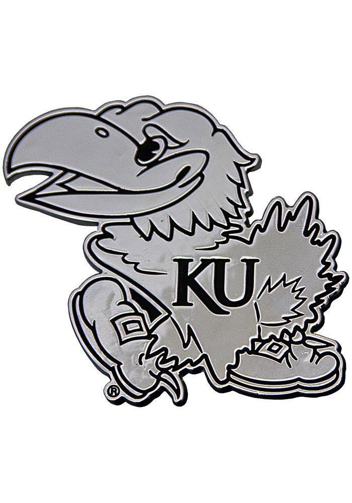 Kansas Jayhawks Chrome Car Emblem Silver 329108 Kansas