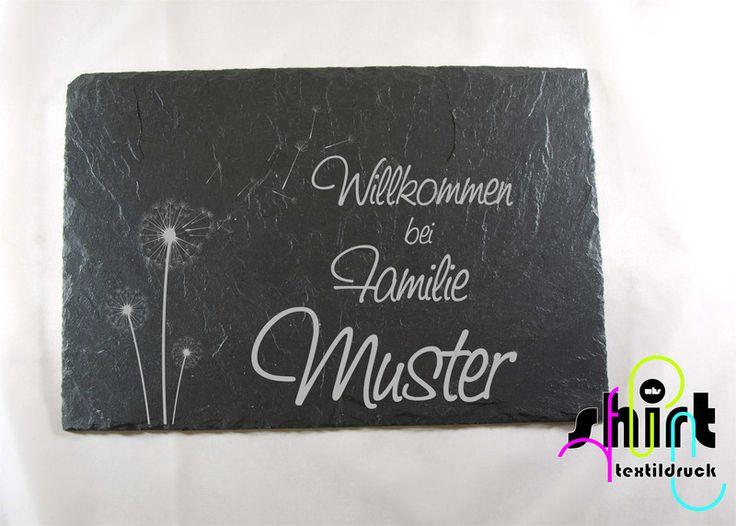 Hausnummern -  S69 Pusteblume Namensschild Türschild Schiefer  - ein Designerstück von WHS-Textildruck bei DaWanda