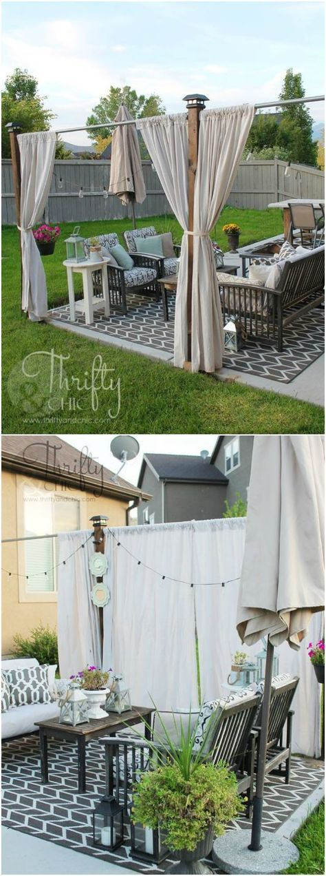 DIY outdoor privacy screen: after years off feeling a lack of privacy when hanging out on our porch, I finally came up with an idea! A cute little privacy screen that resembles the look of a pergola.