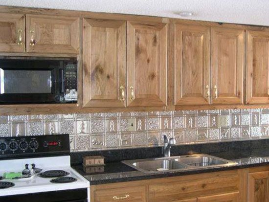 10 best images about metal backsplash on pinterest for Log cabin kitchen backsplash ideas