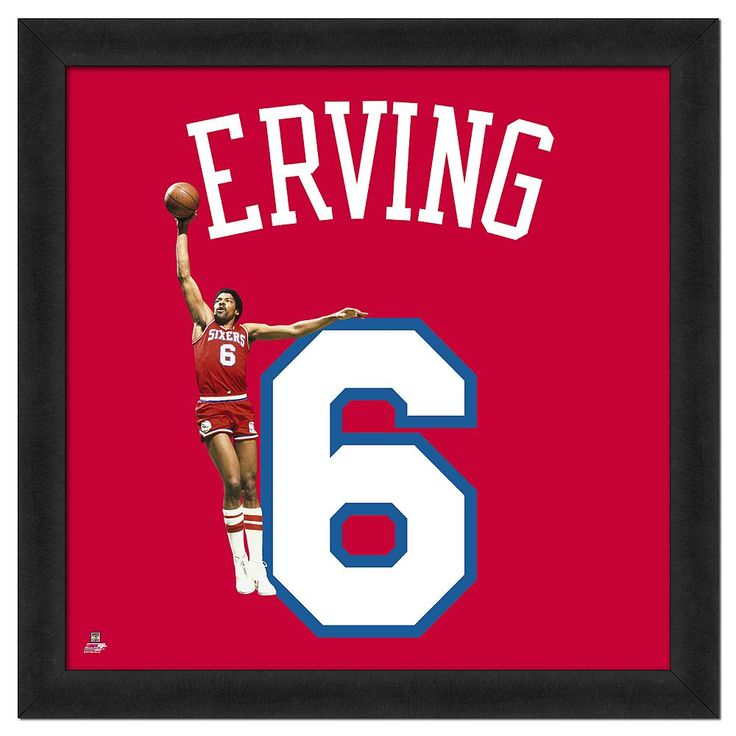 Julius Erving Framed Jersey Photo, Multicolor