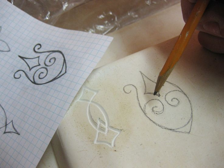 Making stamps from image cut into plaster slab. Gary ...