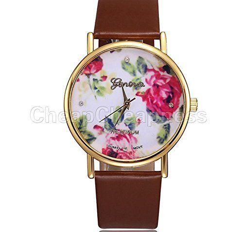amazing-trading - Damen Armbanduhr mit Genfer Rose, Kunstleder und Quartz - Braun - http://uhr.haus/amazing-trading/braun-amazing-trading-damen-armbanduhr-mit-rose