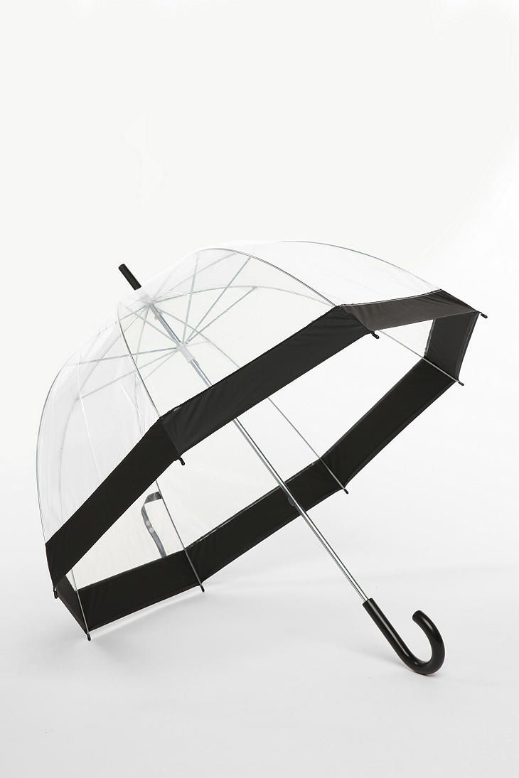 Gor those looking for a chic clear umbrella here is one from Urban outfitters called:  Bubble Umbrella