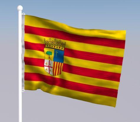 Aragón. La bandera autonómica de Aragón se basa en el tradicional Señal Real de los Reyes de Aragón, que era antiguamente usado solamente por el rey como expresivo de su soberanía. Son elementos comunes de la bandera y el escudo los palos de gules o barras de Aragón, elemento histórico común.....