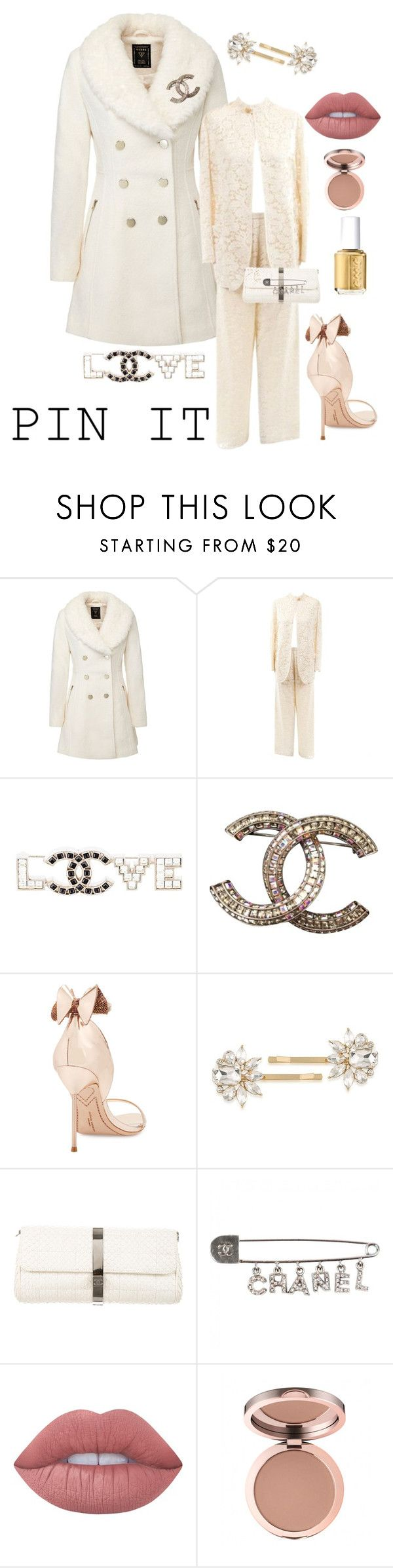 """Accessorize with PINS!"" by kotnourka ❤ liked on Polyvore featuring Giorgio Armani, Chanel, Sophia Webster, Trina Turk, Lime Crime and Essie"