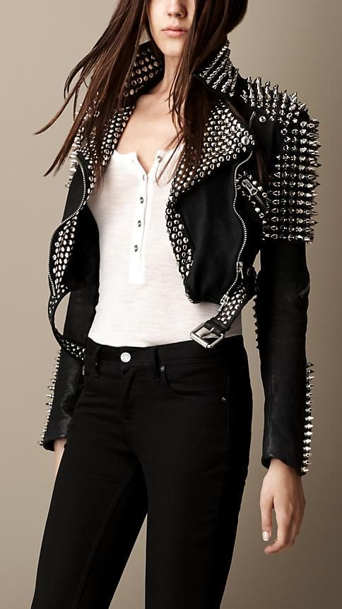 Burberry Brit Multi-Stud Cropped Leather Biker Jacket - NEED!!!