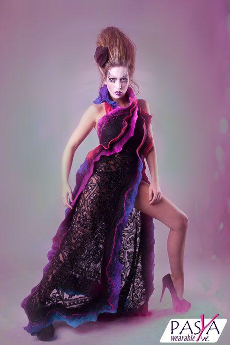 PASYA Wearable Art  Designed by Asia Prusinowska  Photographer: Vanessa Mills  Model: VickyBModel Hair: Phie's Salon Make Up: Freya Goodacre  #couture #bespoke #wearableart #Prusinowska #Pasya #dress #felt #fashion
