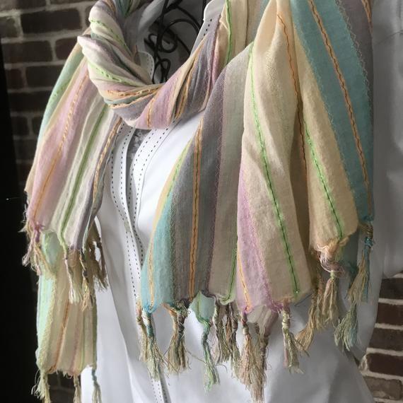 "100/% Cashmere Thin Scarf Vintage Horse Print Kerchief Large Shawl Stole 78/""x39/"""