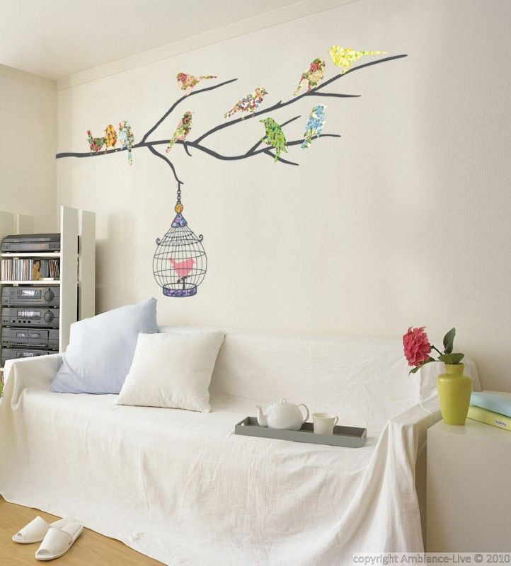 New Sticker Oiseaux multicolores en cage