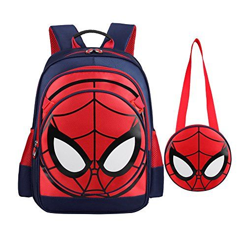 Spider-man Products : Spiderman Backpack Boys Waterproof Comic School Bag With Lunch Kit (One Size, Spiderman-dark blue)