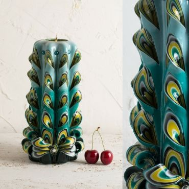 Carved candles - Big peacock tail - Turquoise candle - Decorative carved candle…