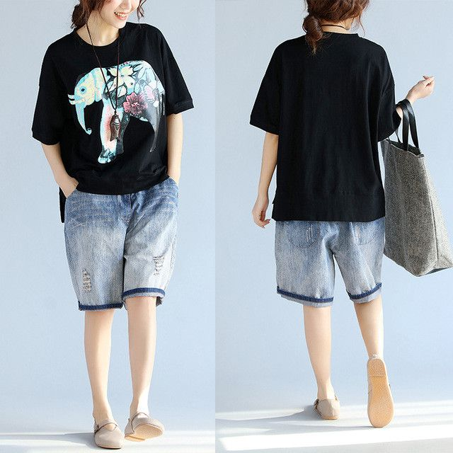 Women T-Shirt Plus Size Cotton Female Casual Elephant Summer Tops Short Design Large Size O-Neck Tumblr Black Batwing T-Shirt