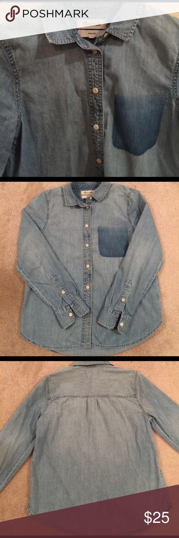Madewell Denim button down shirt 100% cotton denim button down shirt with printed pocket. Madewell Tops Button Down Shirts