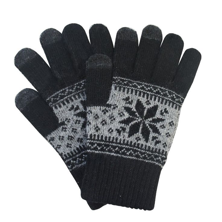 Blend Snowflake Pattern Warm Knitted Touchscreen Smartphone Gloves, Men's