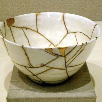 The Japanese art of kintsugi turns brokenness into beauty. The method of repair, using golden seams to rejoin shards, draws the eye to the what was once a point of failure and is now a more beautiful whole.