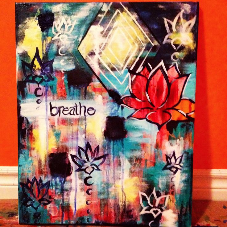 Loooove this one so much. New colour combo looking good! Breathe. lotus flower, abstract yoga meditation acrylic painting on canvas