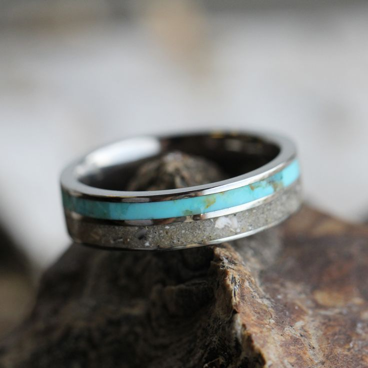 Pet Memorial Ring, Turquoise and Pet Ash In Titanium Band - Jewelry by Johan