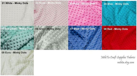 Minky DOTs fabric ultra soft cuddly velboa microfiber by MileTa