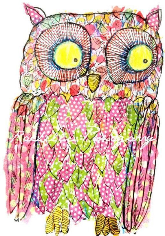 Art Eye Candy LITTLE OWL Print by Rachelle by ArtEyeCandy on Etsy, $16.00