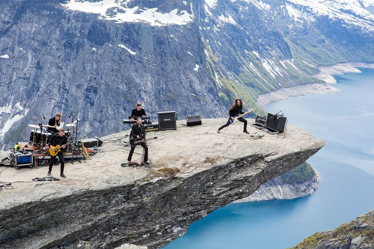 Jazzmetal band Shining performing at Trolltunga, 2300 ft. above the ground