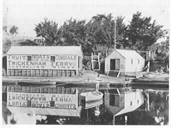 PH 9026. Twickenham Ferry and boat sheds, c.1880.