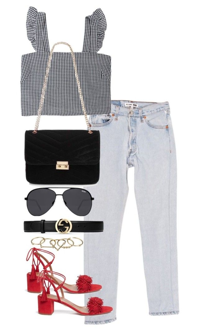 """""""Untitled #4077"""" by theeuropeancloset on Polyvore featuring RE/DONE, Aquazzura, Red Herring, Quay, Gucci and Zimmermann"""