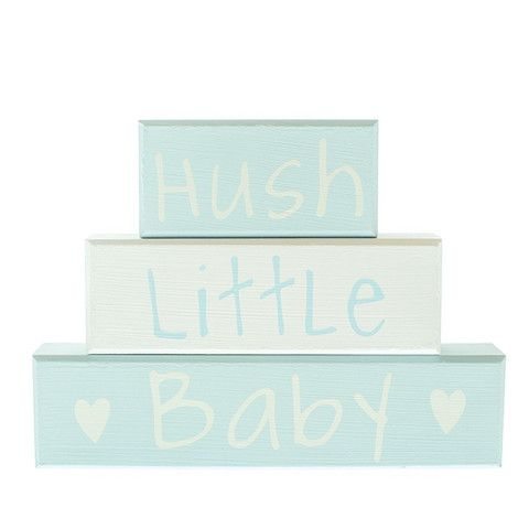 Hush Little Baby Blue Block - Amour Decor
