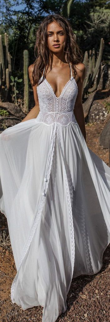 Bohemian wedding dress, make it so there are boho wrap pants underneath as the b…