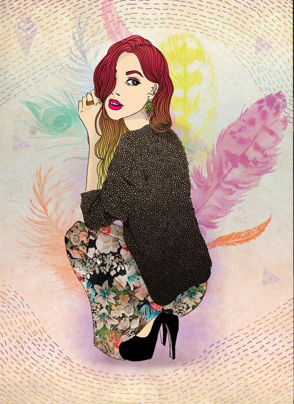 Chica en plumas. Feather girl. Si te interesa la ilustración podes escribirme a sol.dlvega@gmail.com. If you like the illustration, please send me an email sol.dlvega@gmail.com