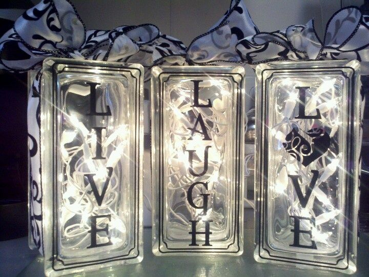 Live Laugh Love glass blocks - could get a Live Laugh Love expression at erint78.uppercaseliving.net or design one yourself #uppercaseliving