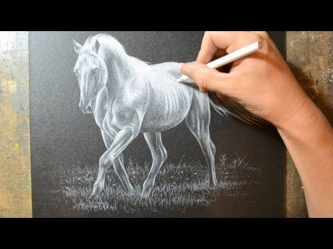 Drawing a Horse with a White Colored Pencil Crayon - YouTube