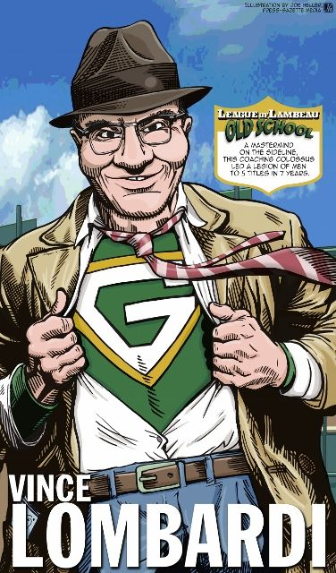 Vince Lombardi in The League of Lambeau by Green Bay Press-Gazette Media editorial cartoonist Joe Heller.  The 2013 iconic Green Bay Packers caricatures look back at the storied history of the NFL's oldest franchise. See them all at http://www.packersnews.com/section/PKR0601?odyssey=refresh