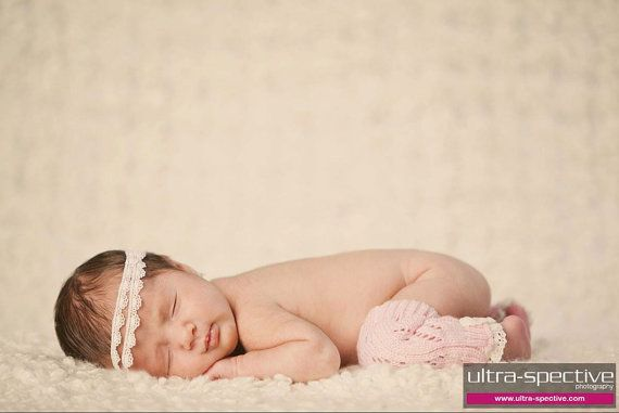 Newborn Headband Girl White Scallop Crochet Lace Tiered by ThreeBirdNest, $16.00