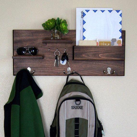 Entryway Storage Coat Rack Mail Storage Coat Hooks And Key Hooks Shelf With  Hooks